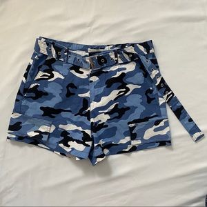 50% OFF Revamped Blue camo shorts with belt